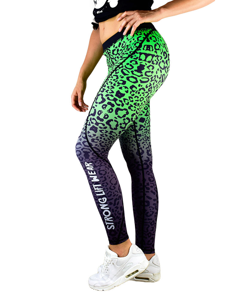 44388472ee Leggings Fusion Compression Tights Green Leopard Yoga Pants | Get In ...