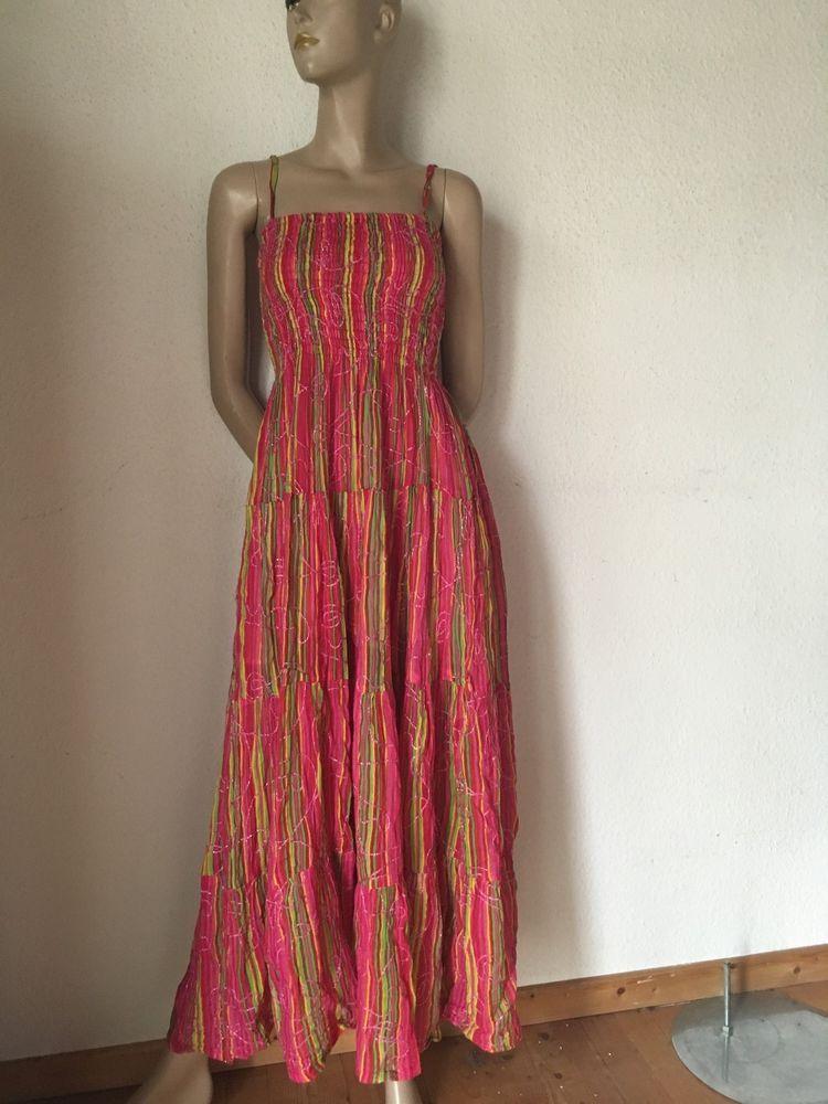 Maxikleid Hippiekleid Pink Grun Gelb Baumwolle Gipsy Rock 36 38 40 Sehr Lang Clothes Fashion Dresses