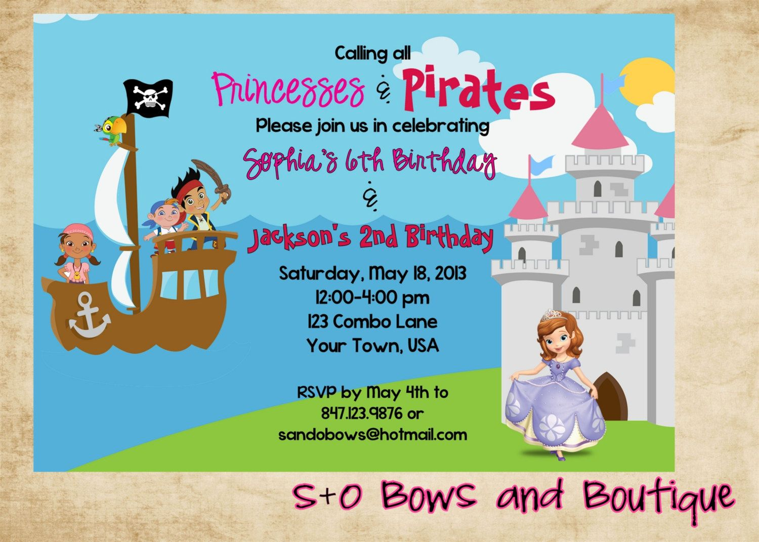 Princesses and pirates party invitation princess pirate party princesses and pirates party invitation filmwisefo
