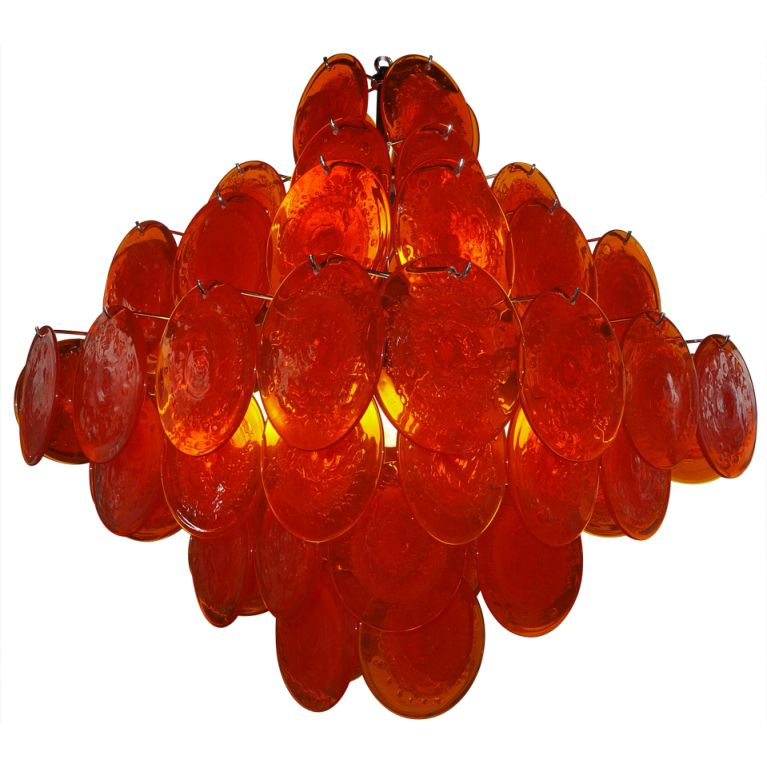 Large tangerine vistosi disc chandelier chandeliers window and lights view this item and discover similar chandeliers and pendants for sale at show stopping visotsi chandelier with 64 vibrant orange murano glass discs mozeypictures Image collections