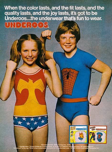 underoos.  Wouldn't it be fun if Underoos were available in adult sizes! Hehe