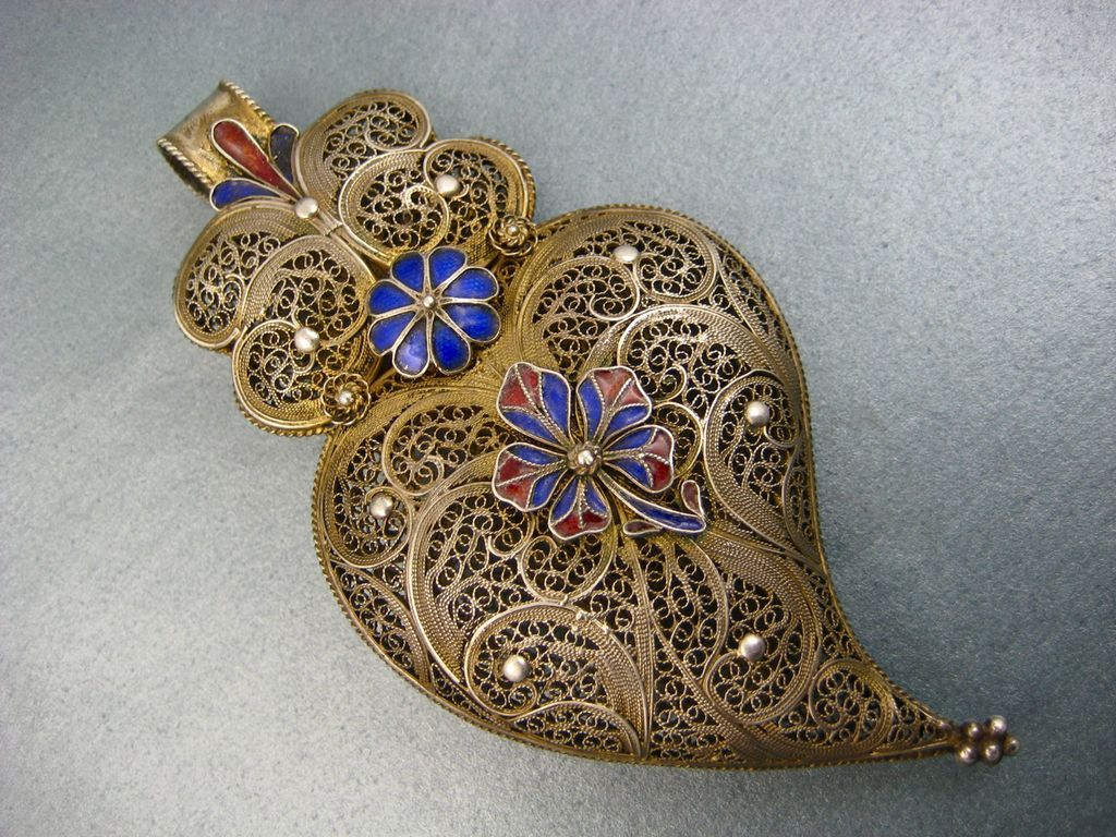 Antique french filigree witches heart pendant gilded with enamel antique french filigree witches heart pendant gilded with enamel flowers c 1850 mozeypictures Gallery