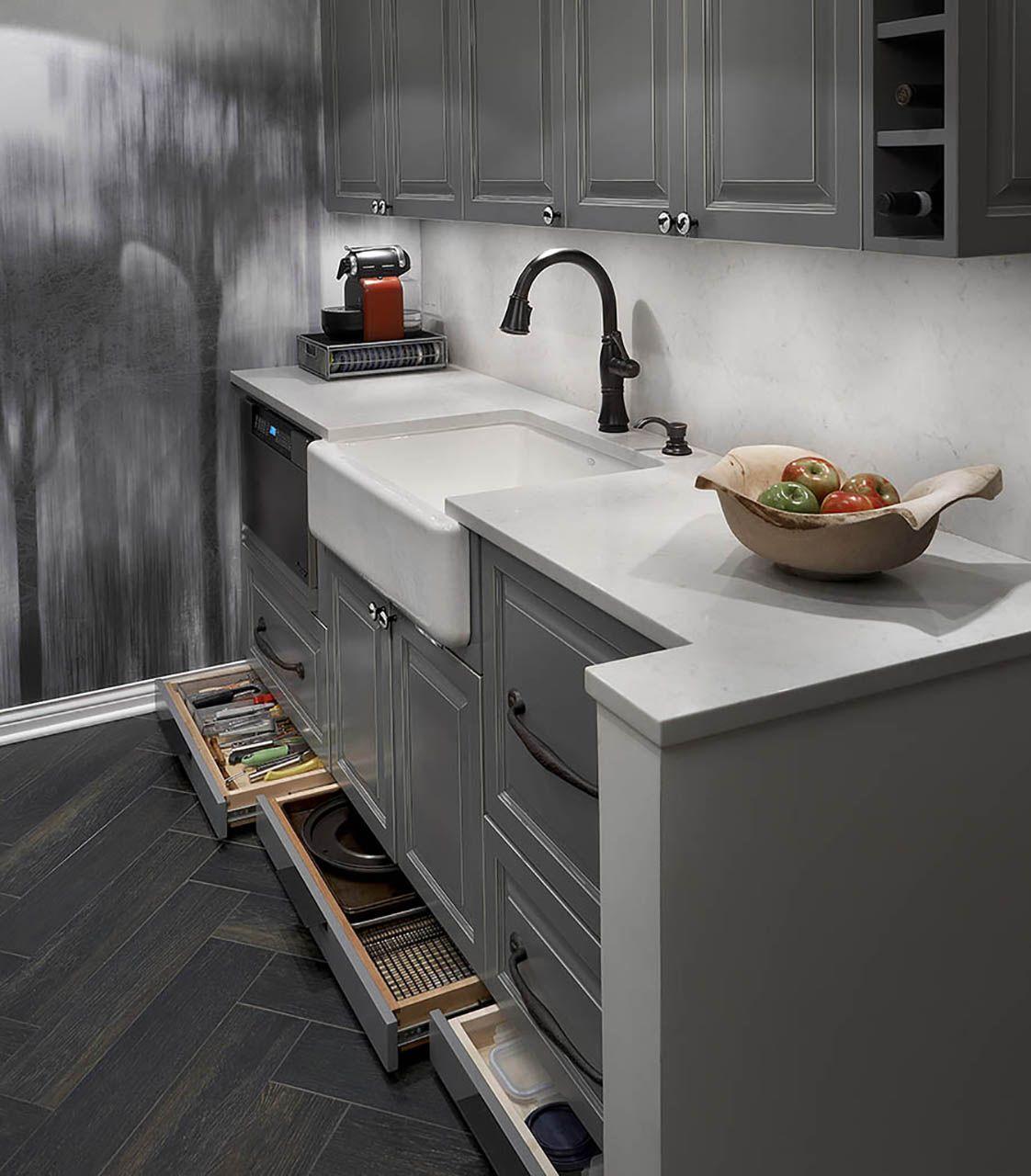 Stylish Grey Kitchen Cabinet With Modern Sink Design In Chicago Kitchen Inspiration Design Trendy Kitchen Kitchen Island Design