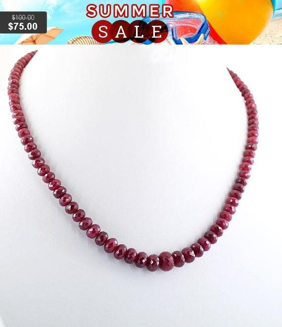 Ruby Wedding Gifts For Men: Ruby Gemstone Necklace, 18k Yellow Gold Clasp, Mother's