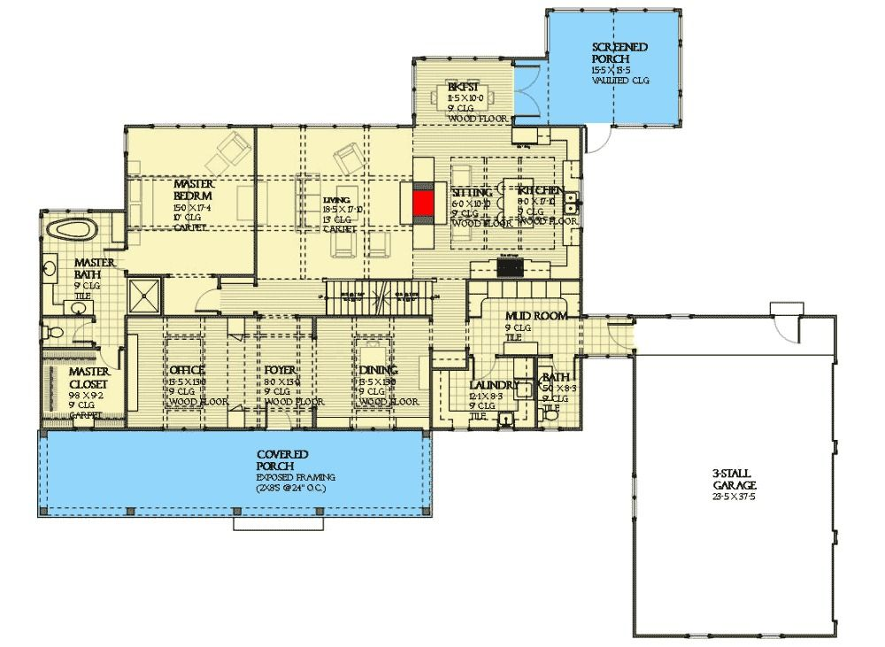 Plan 970006VC: Three Bed Farmhouse with Optional Lower Level