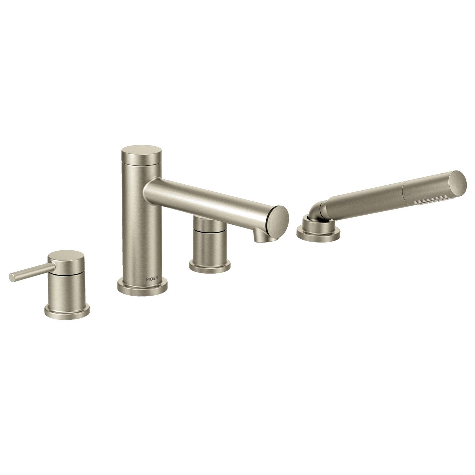 Moen Align Brushed Nickel Two Handle Diverter Roman Tub Faucet Includes Hand Shower Roman Tub Faucets Tub Faucet Faucet