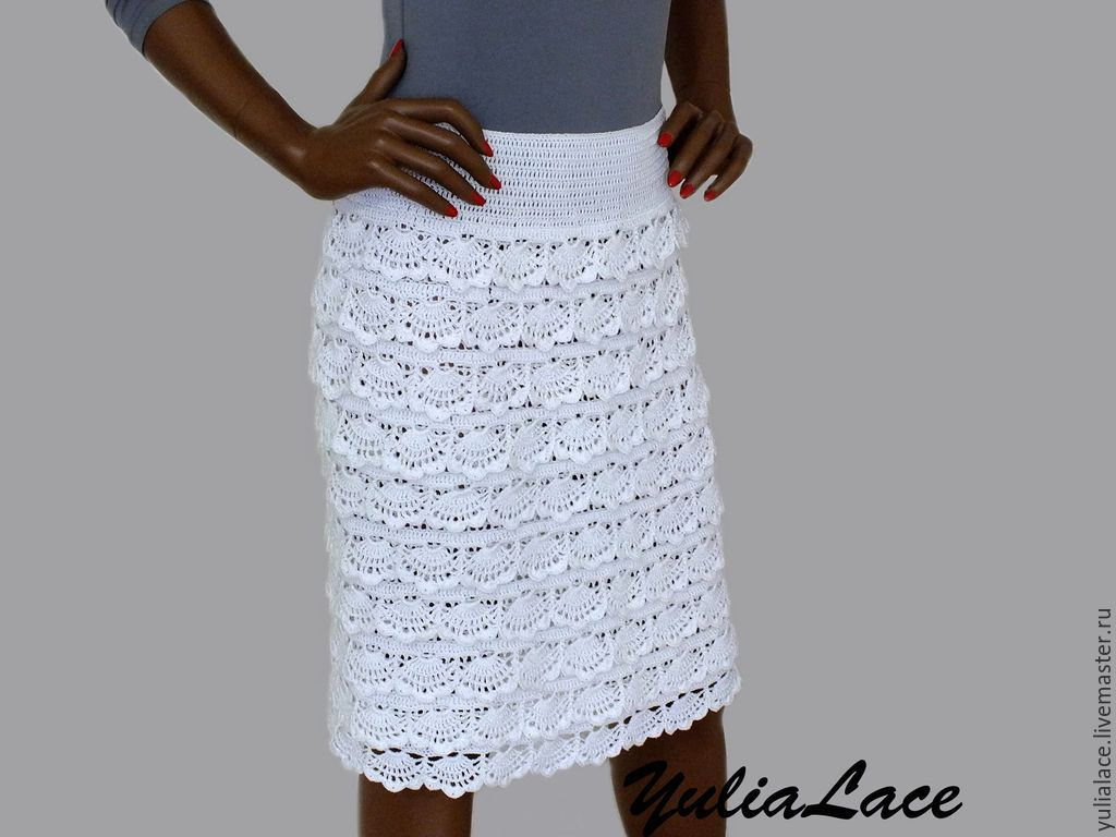 Летняя юбка крючком пряжа