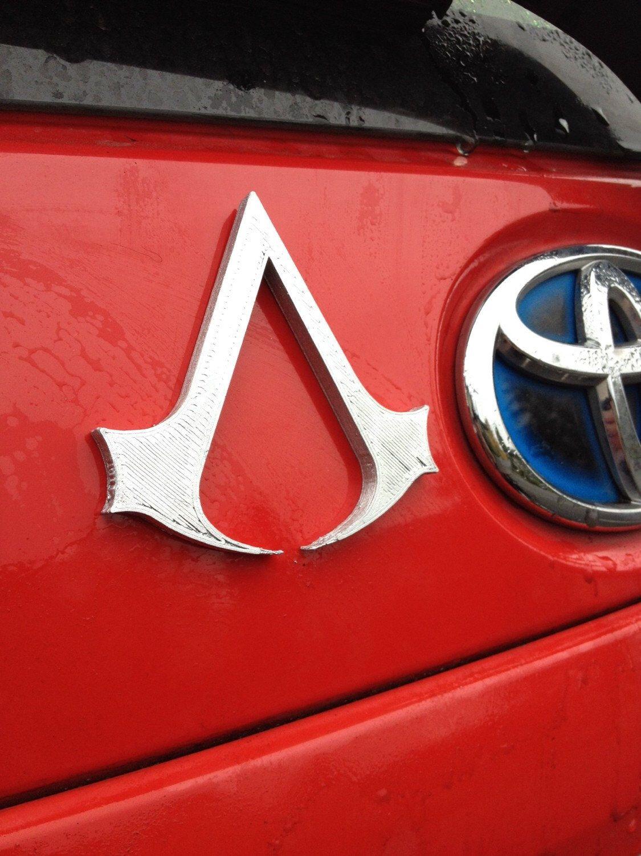 Fanart 3D printed silver Assassin's Creed car decal/logo
