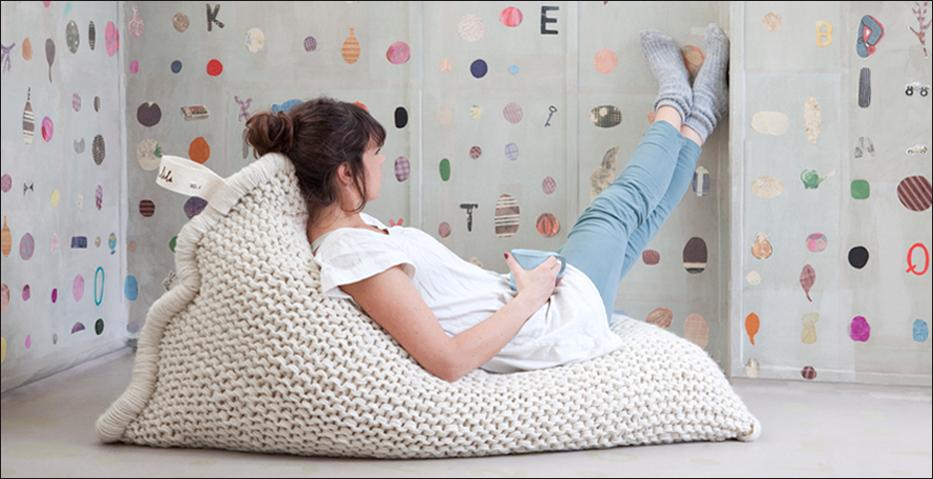 Zitzak Zila Lila.Zila Lila Zitzak Floor Pillows Bean Bag Chair Knitted Cushions