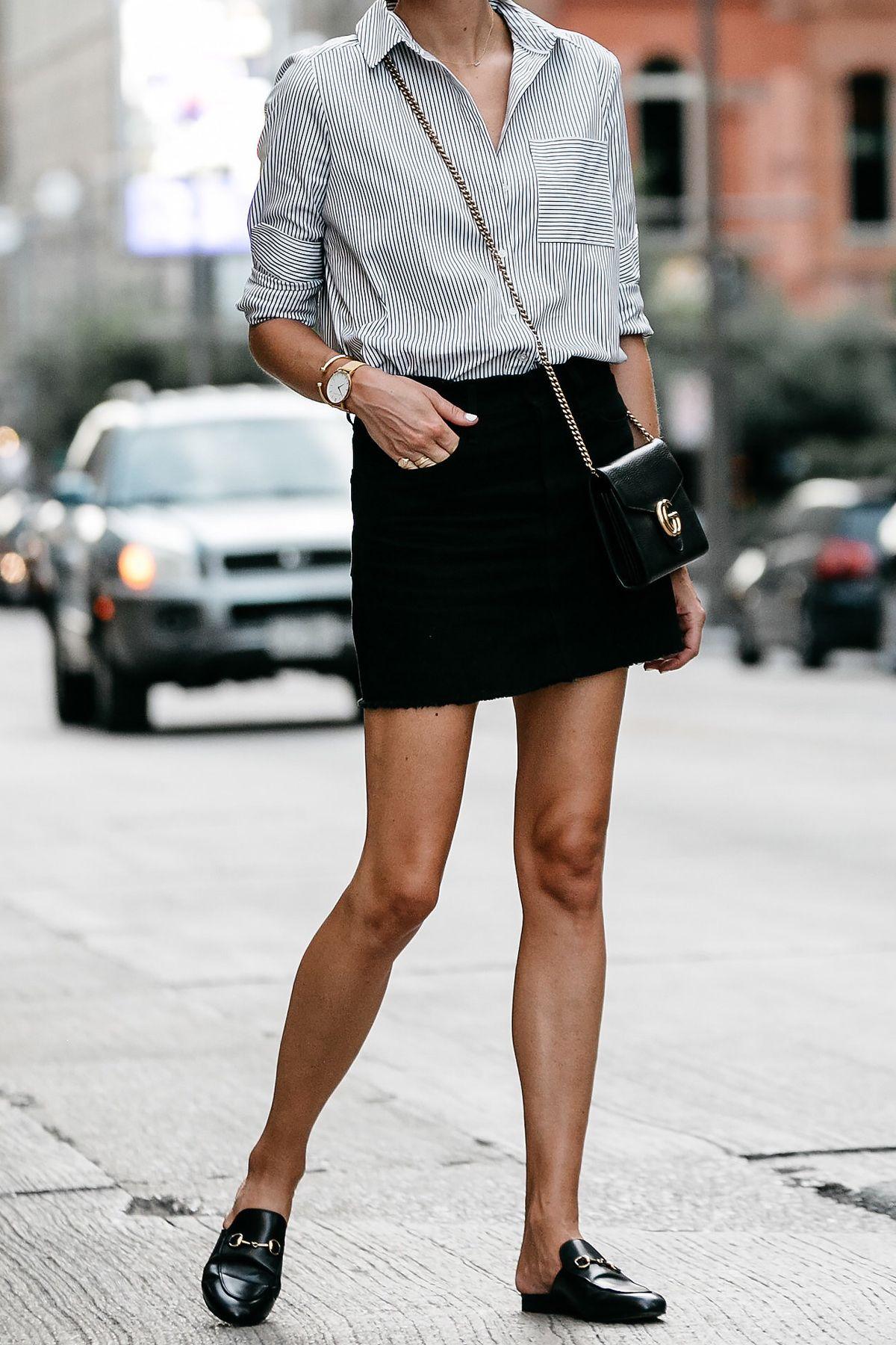 bf391e40ca6 Nordstrom Black and White Stripe Shirt Black Denim Skirt Outfit Gucci Mules  Gucci Marmont Handbag Fashion Jackson Dallas Blogger Fashion Blogger Street  ...