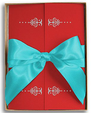 Red And Turquoise Invitation With