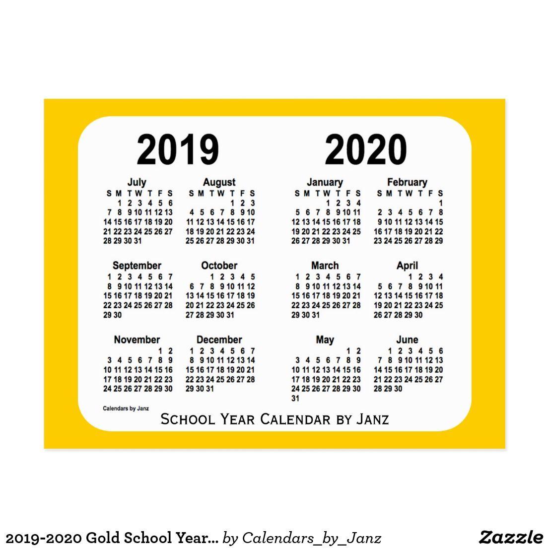2019 2020 Gold School Year Calendar By Janz Postcard Zazzle Com