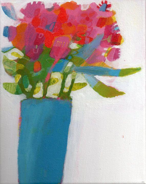 Original acrylic painting 10 x 8 flowers by ImogenSkelleyArt, £14.00