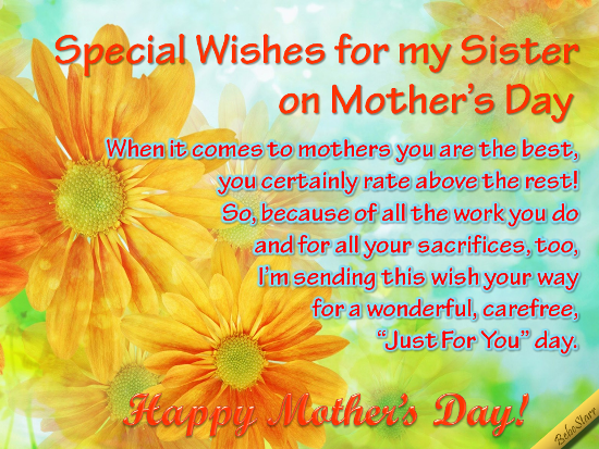 A #MothersDay ecard with special wishes to your #sister. See ...