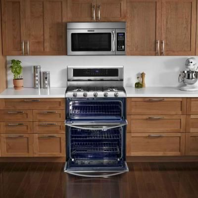 Kitchenaid Architect Series Ii 6 7 Cu Ft Double Oven Dual Fuel Range With Self Cleaning Convection In Stainless Steel Kdrs505xss The Home Depot