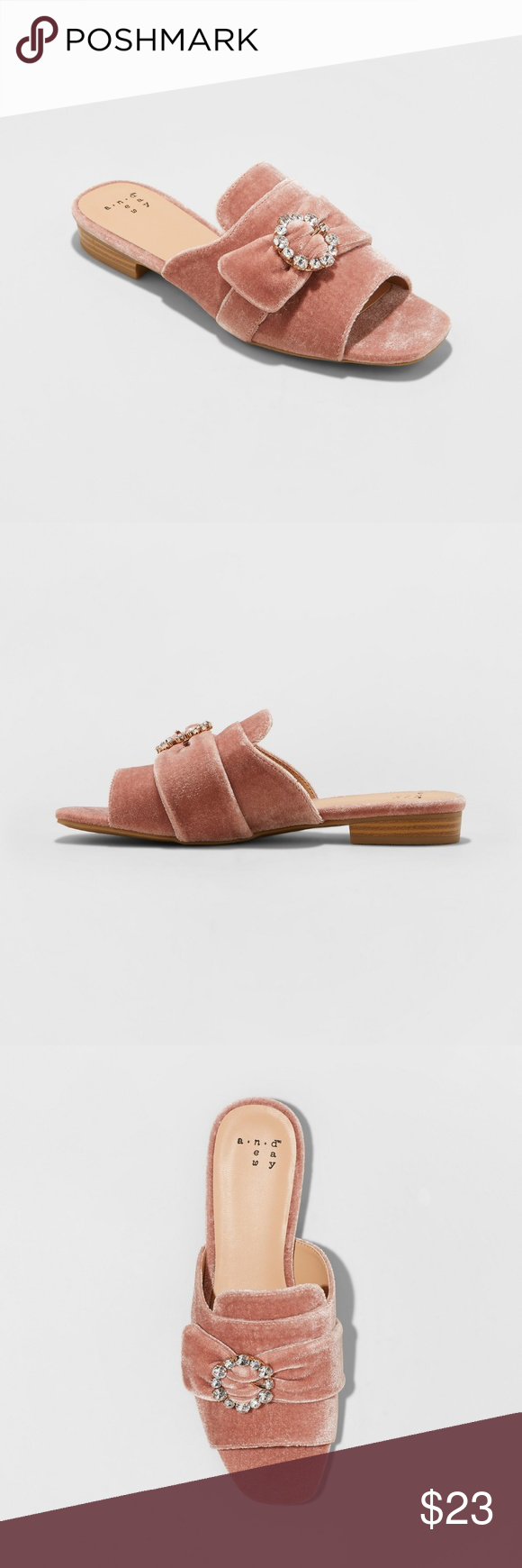 46d7f4e7593c A New Day Blush Dina Velvet Slide Sandals New Women s A New Day™ Blush Dina  Velvet Embellished Slide Sandals Color  Blush Size  7.5 Shoe Width  Medium  Care ...
