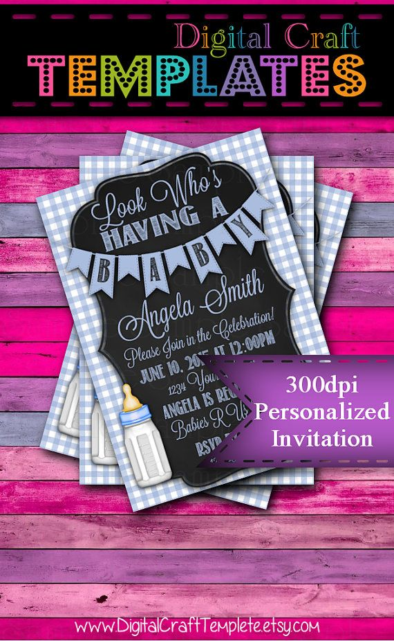 Personalized Printable Invitations | Look Who's Having a Baby | Baby Shower | Blue |  #278