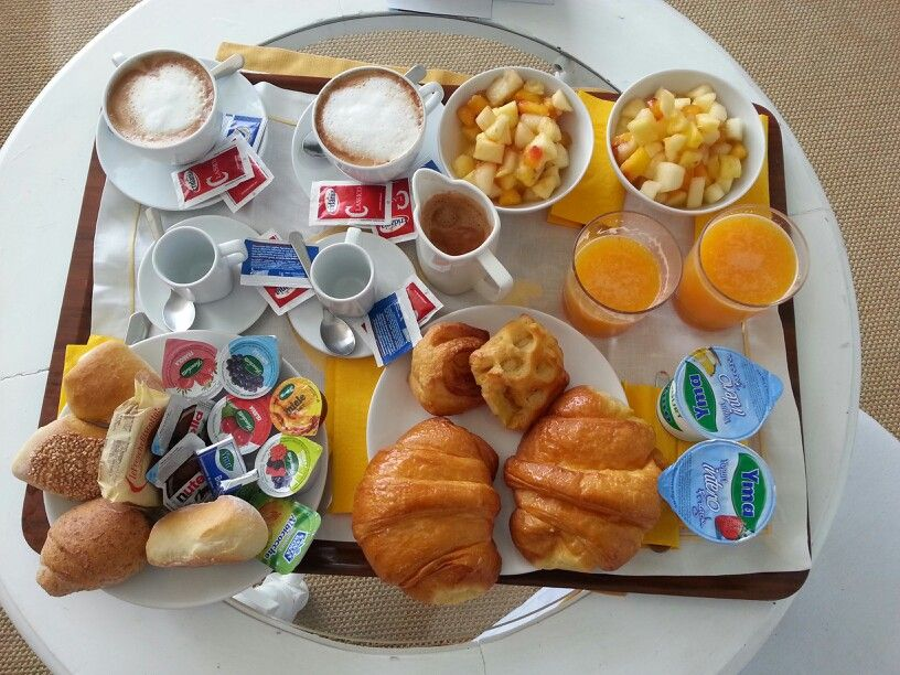 Prima colazione consists of coffee with milk butter for Italian breakfast