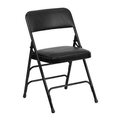 Symple Stuff Laduke Folding Chair Color Black Folding Chair Metal Folding Chairs Padded Folding Chairs