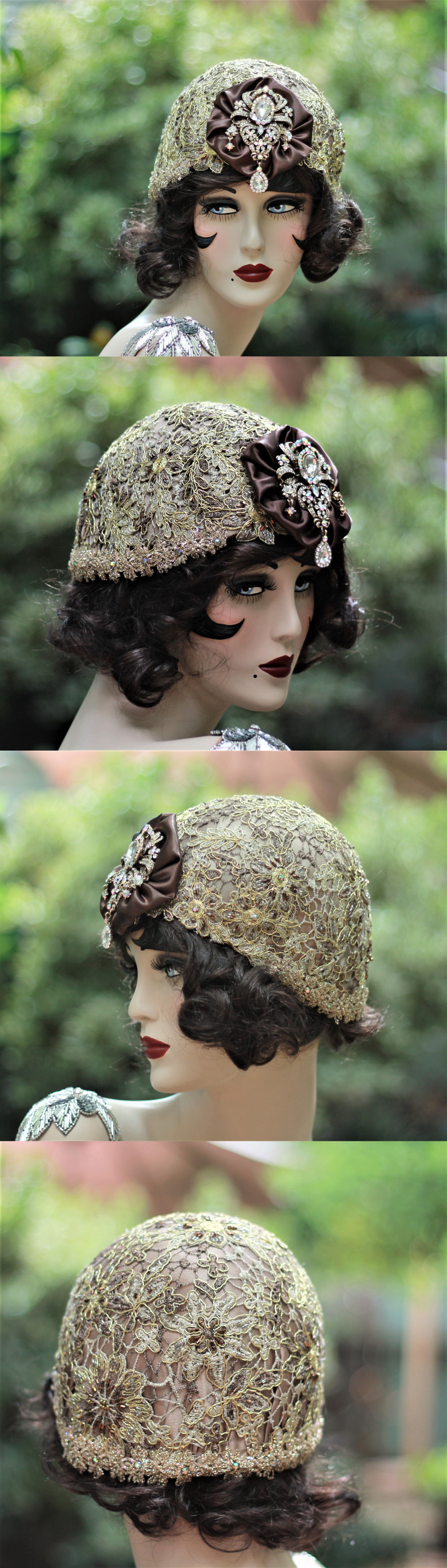 Womens Formal Hats 131476: 1920S Vintage Style Cloche Flapper Party Wedding Hat Rhinestones Gold Lace -> BUY IT NOW ONLY: $205 on eBay!