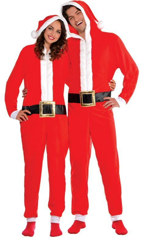 Adult Santa One Piece Pajamas - Party City | Christmas | Pinterest ...