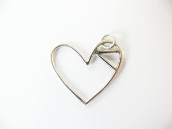 Heart Necklace Sterling Silver by SunshineOnWater on Etsy, $42.00
