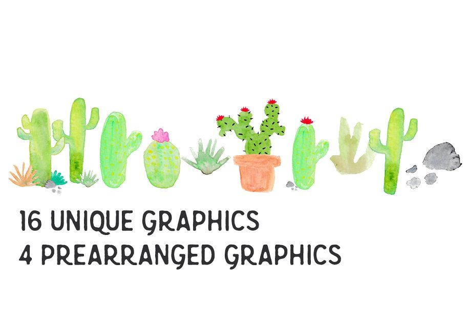 Cactus Watercolor Clip Art ~ Illustrations ~ Creative Market #clipartfreebies