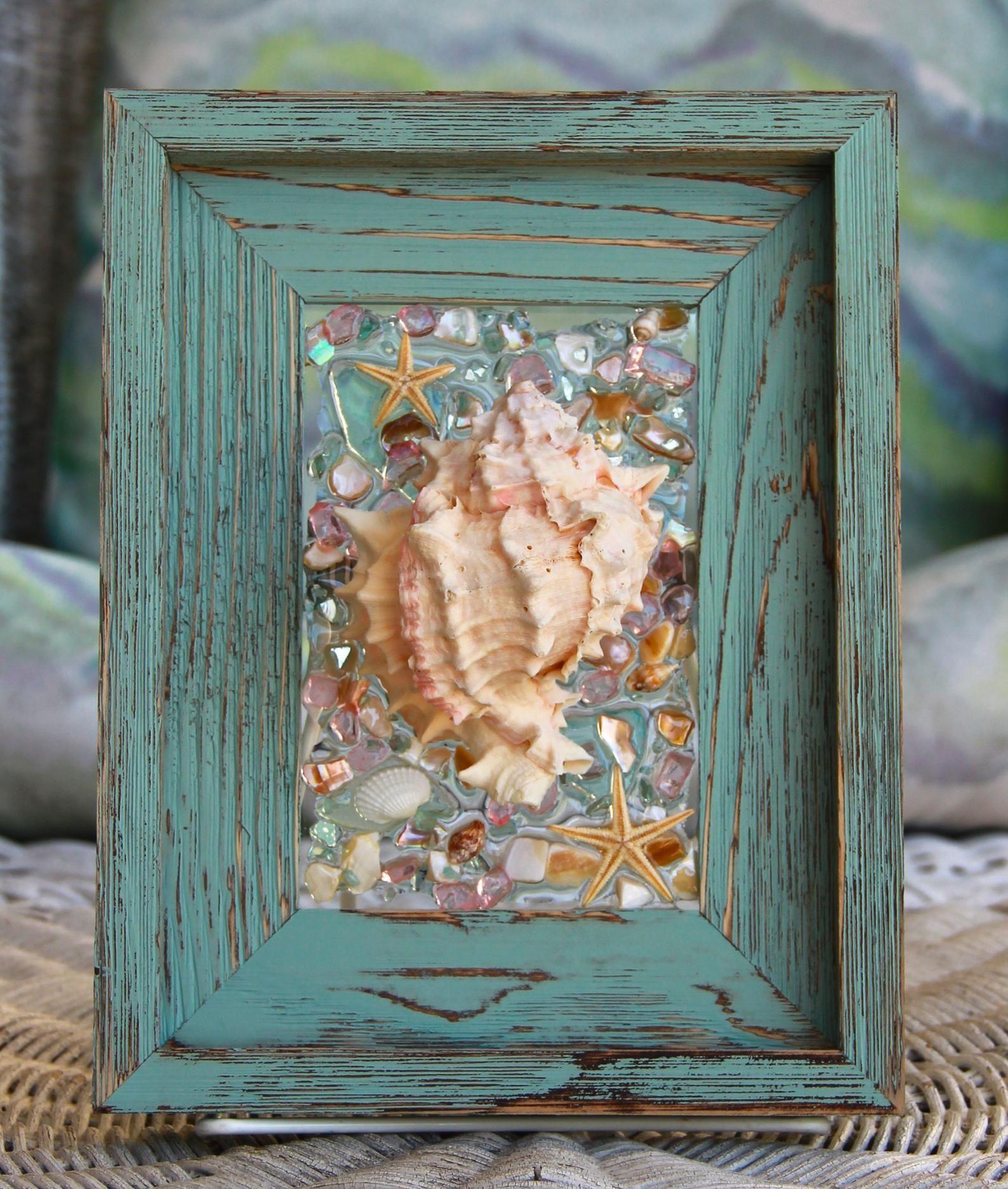 Beach Glass Art In Rustic Frame Beach Decor Of Seashell Art Etsy