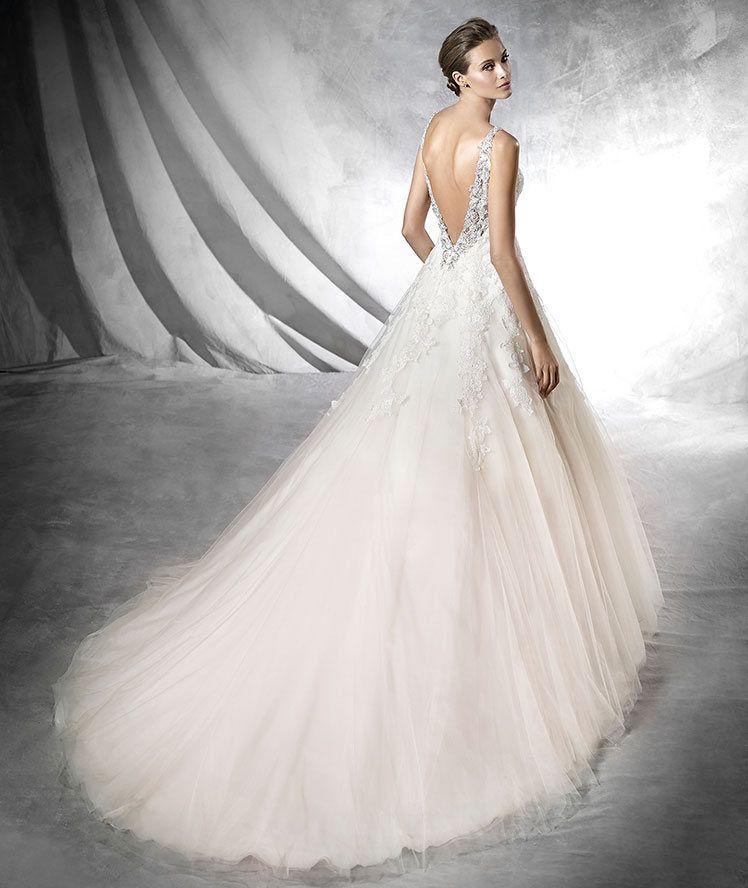 prata - vestido de novia, de estilo princesa de tul rosa. tirantes y