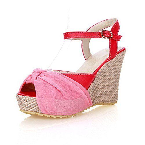 Women's High-Heels Soft Material Solid Buckle Peep Toe Platforms & Wedges