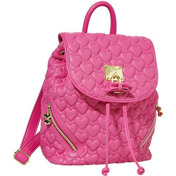 Betsey Johnson Always Be Mine Backpack ($108) ❤ liked on Polyvore featuring bags, backpacks, betsey johnson, pink, new arrivals, rucksack bags, flap bag, pink bag, knapsack bag and heart shaped bag
