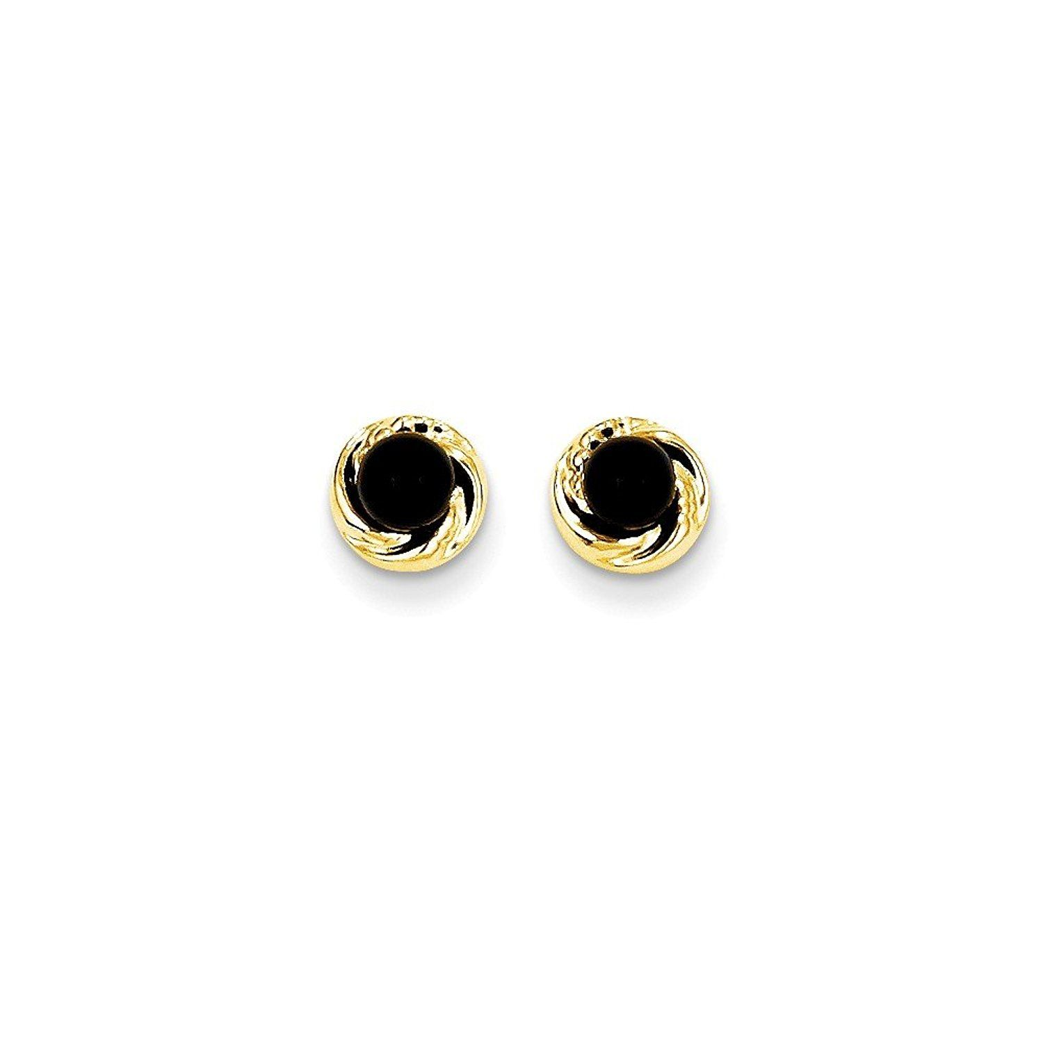 PARIKHS Yellow Gold Ball Earrings High Polished 7MM 14k with Silicone Protected Gold Pushbacks