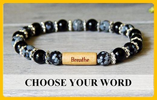 Black Onyx Snowflake Obsidan Gemstone Inspirational Message Beaded Bracelet Your choice of word - Wedding bracelets (*Amazon Partner-Link)