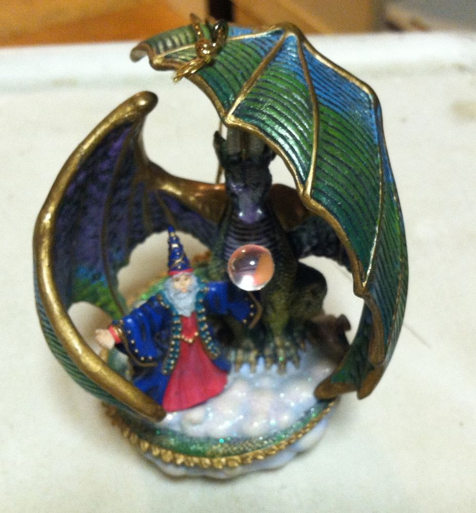 With Dragon and redhead ornament