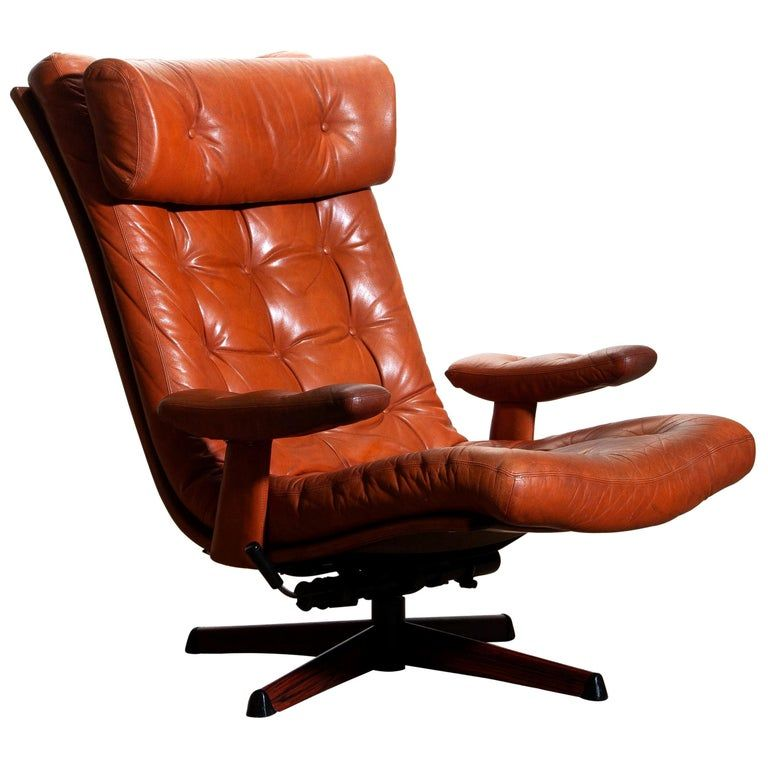 Best 1960S Cognac Leather Swivel Relax Lounge Easy Chair By 400 x 300