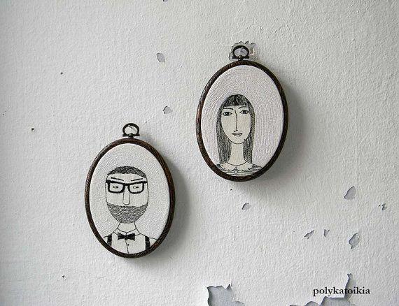 Custom Couple PortraitHE and SHEPersonalized by polykatoikia