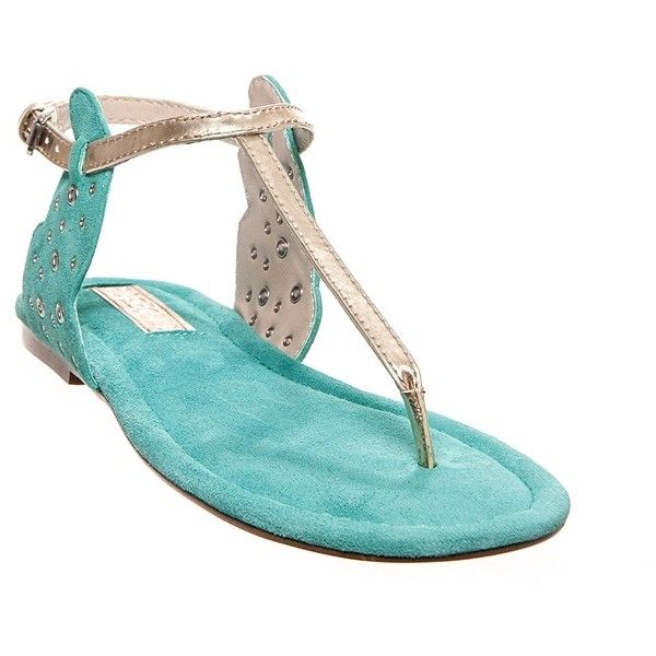 Milton T-strap Flat Sandal White Gold Caribbean Green ❤ liked on Polyvore