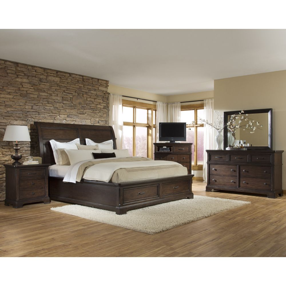 Crystal Ridge Sleigh Storage Bed By Emerald Home Wooden Panel