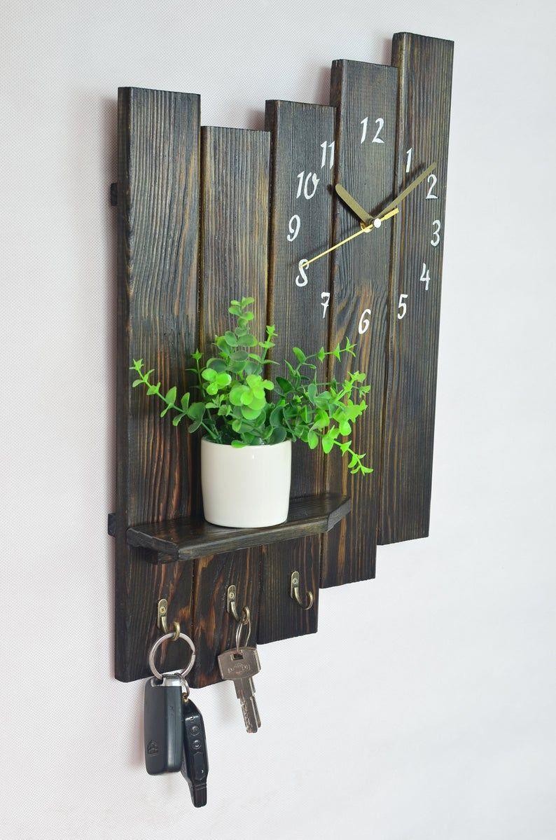 Reloj de pared industrial Estante rústico colgante Planter reloj de madera Key Holder Imagen repisa marco de la foto Plant stand Farmhouse estante de decoración