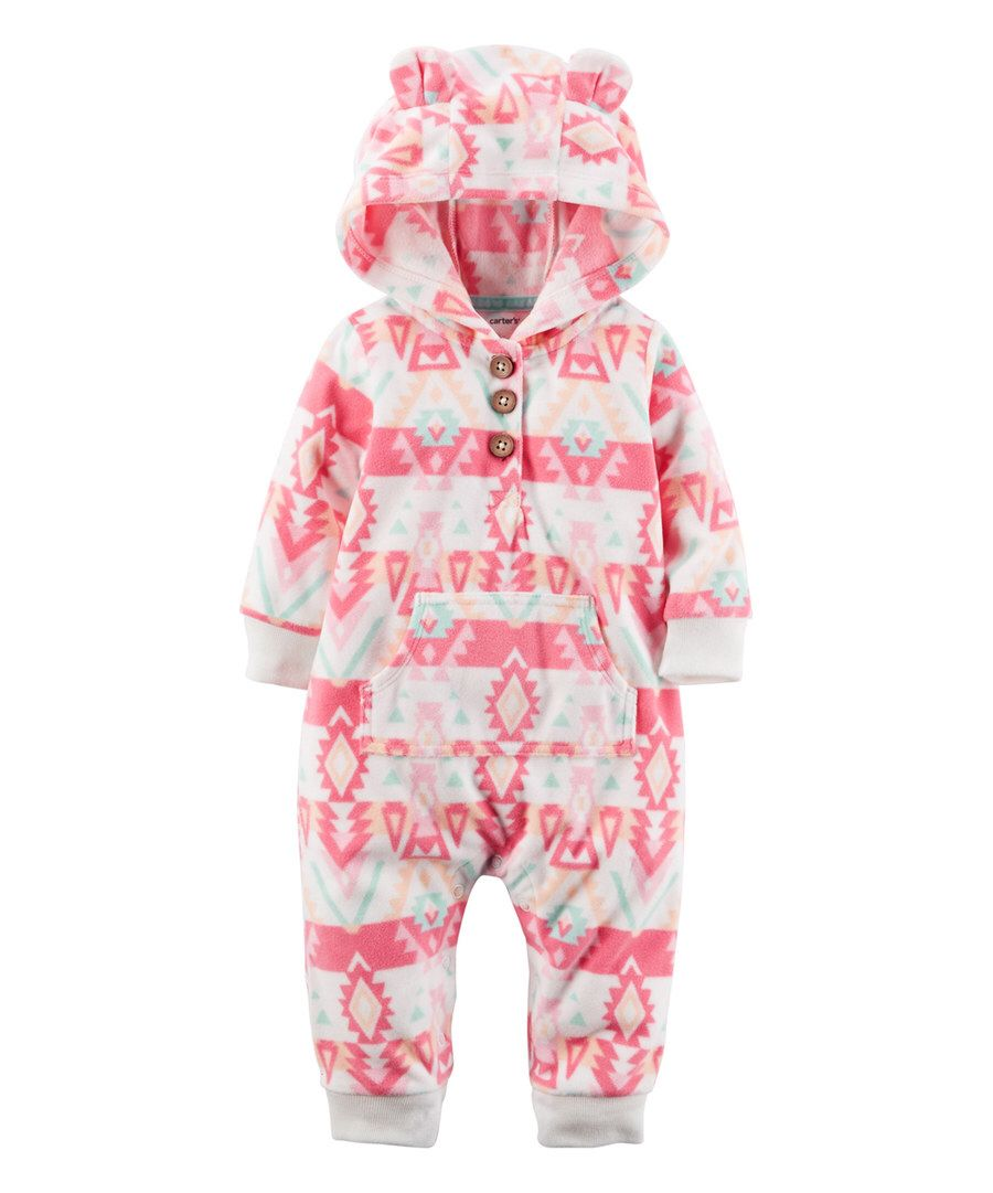 Look at this Carter's Pink Geometric Hooded Fleece Playsuit - Infant on #zulily today!