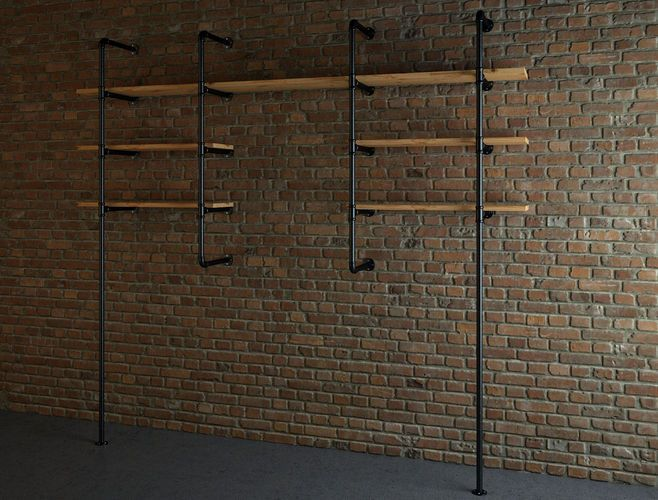 Industrial style pipe shelves