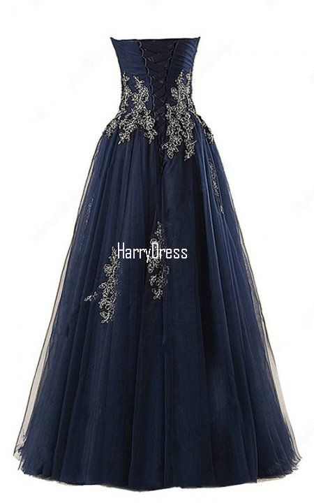 A Line Sweetheart Tulle Floor Length Appliques Lace Dark Navy Long Prom  Dress