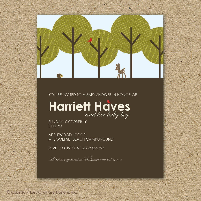 baby shower invitation . . . modern woodland forest. $15.00, via ...