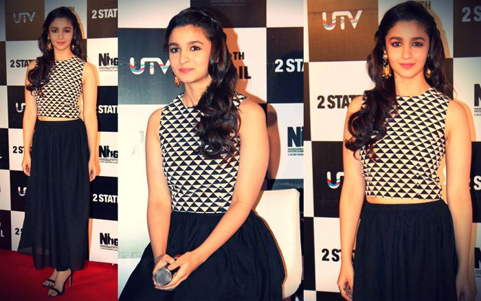 f1572ff97dc2cb Alia Bhatt in a black and white geo-patterened Crop Top by Payal Singhal  paired with a black tea-length skirt. Simple and elegant - At The Launch Of  2 ...