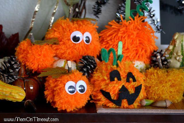 Pom Pom Pumpkins - Kid\u0027s Halloween Craft Idea Craft - halloween crafts ideas