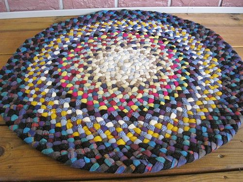 Handmade Wool Braided Rug In Shades Of Blue And Mustard From