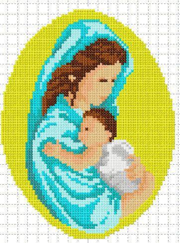 Madonna con bambino a punto croce per ricamatrice di RICAMIdiLU