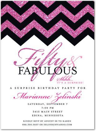 50th Birthday Invitations, Glitter Hot Pink Chevron Fifty & Fabulous, 34483