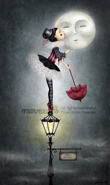 kiss the moon - I really want this for Lane - If anyone knows where I can get a print - let me know. Danceable Tragedy:  Rue des Roses by Movezerb