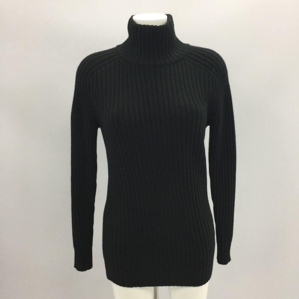 936b6339c83 DKNY Black Jumper Knit Casual Winter Funnel Neck Cashmere Women Size M L  381335